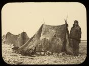 Inuit man and skin tents