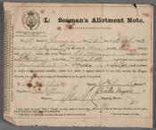 One of a series of eleven Seaman's Allotment Notes for Mr Charles Myers.