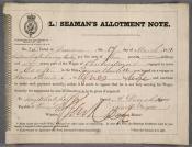 One of eleven Seaman's Allotment Notes for Mr Charles Myers.
