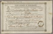 One of a series of Certificates of Discharge for Charles Myers