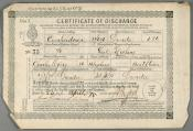 One of a series of Certificates of Discharge for Mr Charles Myers.