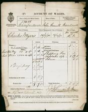 One of a series of six Accounts of Wages for Charles Myers