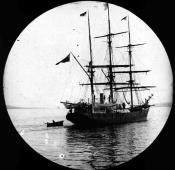 Stern view of whaling ship in the River Tay