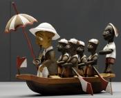 Model boat with figures