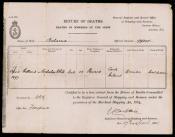 Return of Deaths for Nicholas White, steward on SS Balaena 1897
