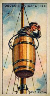 Ogdens cigarette cards, whaling series. 25 in the series. 2+3 The Look Out