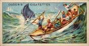 Ogdens cigarette cards, whaling series. 25 in the series. 6. Lancing