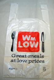 Wm. Low. White plastic carrier bag