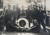 """Group portrai of some of crew of the whaling ship """"Active"""" taken on board ship while in port"""