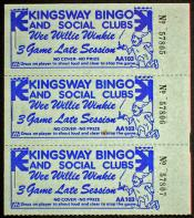 Game cards from Kingsway Bingo and Social Clubs. - 3 books