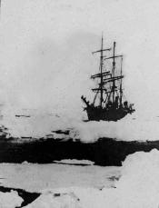 Lantern slide of a whaling ship in pack ice