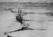 Lantern slide of a whaling ship moored in a crack in the ice pack.