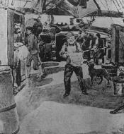 Drawing of meal time on board a Dundee whaling vessel