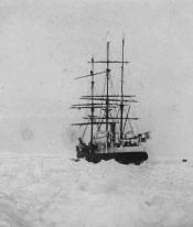 Lantern slide of whaling ship fast in the ice