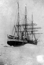 Lantern slide of a whaling ship locked in the ice