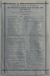 """Psalm Sheet for """" The Memorial of Captain Scott and those who died with him """""""